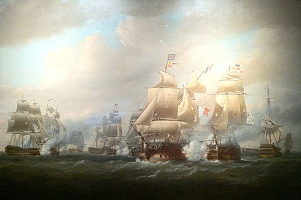 Duckworth's Action off San Domingo, 6 February 1806 by Nicholas Pocock (1808). Duckworth's flagship, the 74-gun Superb, is shown firing at the French flagship, the 120-gun Imperial. Duckworth's action off San Domingo, 6 February 1806, Nicholas Pocock.jpg