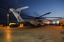 Dusk falls over a U.S. Marine Corps CH-53E Super Stallion helicopter at Camp Bastion in Helmand province, Afghanistan, May 6, 2013 130506-A-CL397-247.jpg