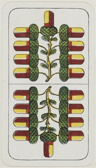 Blank (playing card) - The Nine of Acorns, a typical blank from a German-suited, Württemberg-pattern pack