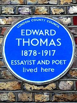 Edward thomas 1878 1917 essayist and poet lived here
