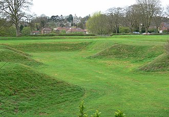 Ashby de la Zouch Castle - Earthworks in the eastern part of the garden, probably intended to resemble bastions