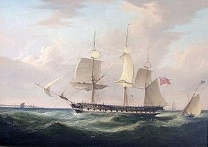 Kent (1820 EIC ship) - Image: East Indiaman Kent off Deal, England
