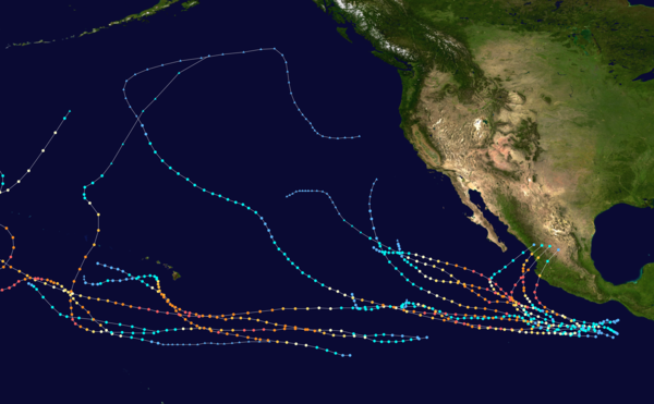 Tracks of all Category 5 Pacific hurricanes northeast of the International Date Line until 2018. Note that parts of some tracks cross the Date Line and are omitted. East Pacific Category 5 tracks.png