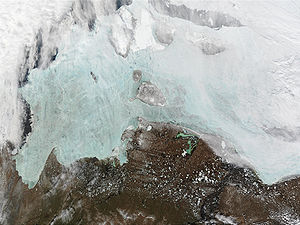 East Siberian Sea - Satellite photo of the New Siberian Islands, with the Laptev Sea on the left and part of the East Siberian Sea shown on the right.