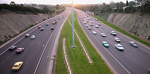A typical dual carriageway in Melbourne, Australia.