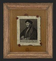 Portret van Desiderius Erasmus geschilderd als trompe-l'oeil papier verzegeld op plank