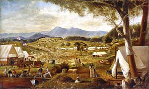 Ararat, Victoria - Edward Roper, Gold diggings, Ararat, ca. 1854–58, oil on canvas, State Library of New South Wales