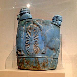 "Egyptian blue - Pyxis made out of ""Egyptian blue"". Imported to Italy from northern Syria. Produced 750-700 BC. Shown at Altes Museum in Berlin."