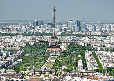 Eiffel Tower from the Tour Montparnasse 3, Paris May 2014.jpg