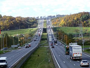 European route E85 - Expressway near Kaunas in Lithuania. Bridge over the Neris River.
