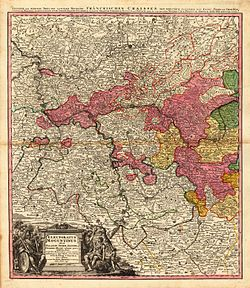 18th century map of the Electorate of Mainz (Erfurt and Eichsfeld, more to the north-east, not shown).