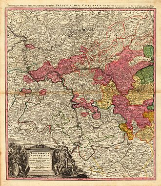 Electorate of Mainz - 18th century map of the Electorate of Mainz (Erfurt and Eichsfeld, more to the north-east, not shown).