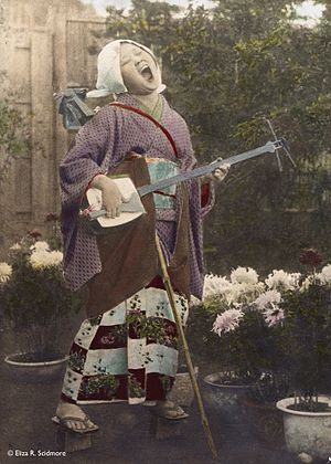 Goze - A goze in 1912 (photographed by Eliza Ruhamah Scidmore and hand-colored)