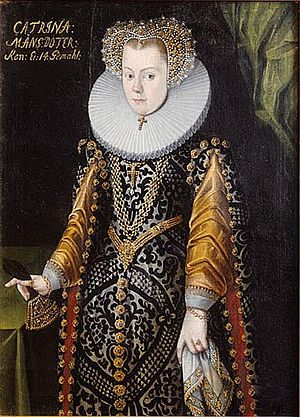 Princess Elizabeth of Sweden - This image was long considered to be of her sister-in-law Queen Catherine but is now assumed to be of Elizabeth, with the text on the painting added later. It was probably painted in about 1580 when Elizabeth was engaged.