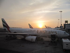 Emirates A330's at Dubai International Airport.JPG