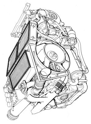 Technical illustration - Conventional line illustration of an engine demonstrating perspective and line techniques.