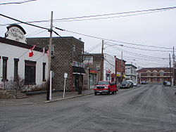 Main street in Englehart. The ONR train station is visible at the end of the street.