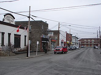 Englehart - Main street in Englehart. The ONR train station is visible at the end of the street.