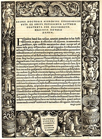 Erasmus - Acknowledgement page engraved and published by Johannes Froben, 1516