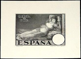 Naked Maja (postage stamps) - An essay of unissued postage stamps La maja vestida