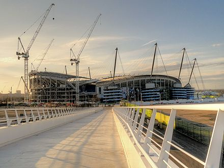 Etihad Stadium, viewed in March 2015 from the new SuisseGas Bridge Etihad Stadium from bridge in 2015.jpg