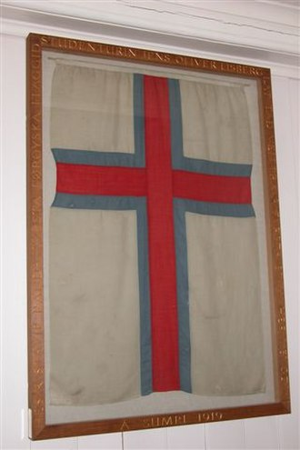 Flag of the Faroe Islands - The original flag now hangs in the church of Fámjin