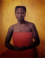 Femme noire assise de face
