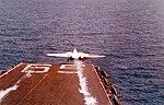 F-14A Tomcat of VF-1 launching from USS Enterprise (CVAN-65) 1975 (K-107363).jpg