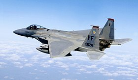 Un F-15C Eagle, appartenente al 71st Fighter Squadron dell'USAF in volo; 2007.