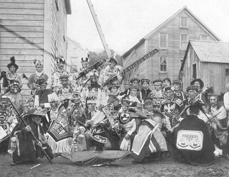 File:FMIB 49171 Yakutat Indians in costume for Potlach festival Their entire seaso's earnings of $4,800 at the cannery were spent in two days at.jpeg