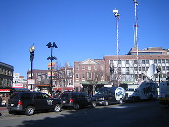 Outside broadcasting - Image: FOX news trucks Harvard Square 050429