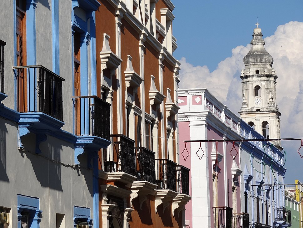 Facades in Old City with Cathedral at Rear - Campeche - Mexico