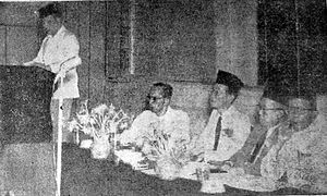 Fakih Usman - Fakih delivering a speech at a Muhammadiyah meeting, 1952