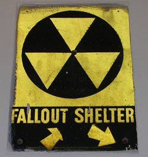 Anti-nuclear movement in the United States - A sign pointing to an old fallout shelter in New York City.