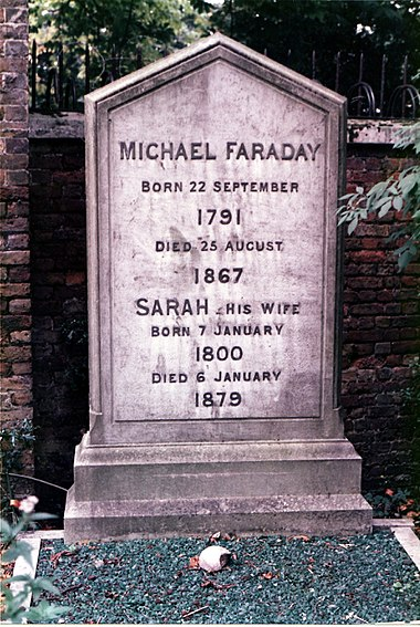 Michael Faraday's grave at Highgate Cemetery, London Faraday Michael grave.jpg