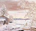 Ferdinand von Wright, Talvimaisema Savosta auringonlaskun aikaan.jpg