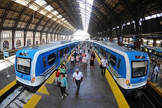 Transport in Argentina - CSR trains operated by Trenes Argentinos at Retiro railway station.