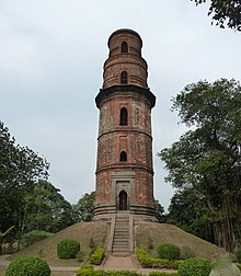 Firoz Minar a red stone tower at Gauda