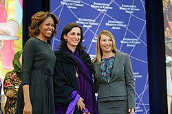 First Lady Michelle Obama and Deputy Secretary Higginbottom With Bishop Rusudan Gotsiridze of Georgia (12935919814).jpg