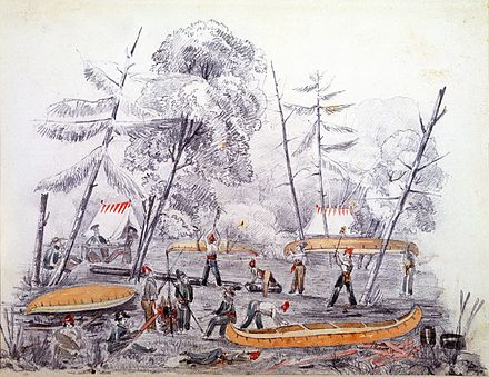 Camp used by soldiers and labourers of the Rideau Canal, on the south side of the Ottawa River in 1826. The building of the canal attracted many land speculators to the area. First camp by By.jpg