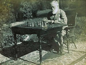 Willard Fiske - Fiske playing chess.