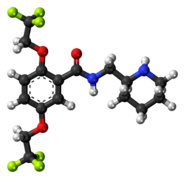 Ball-and-stick model of the flecainide molecule