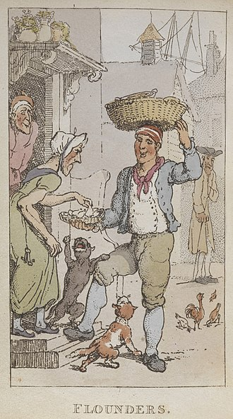 Costermonger - Selling fish from Rowlandson's Characteristic Sketches of the Lower Orders, 1820
