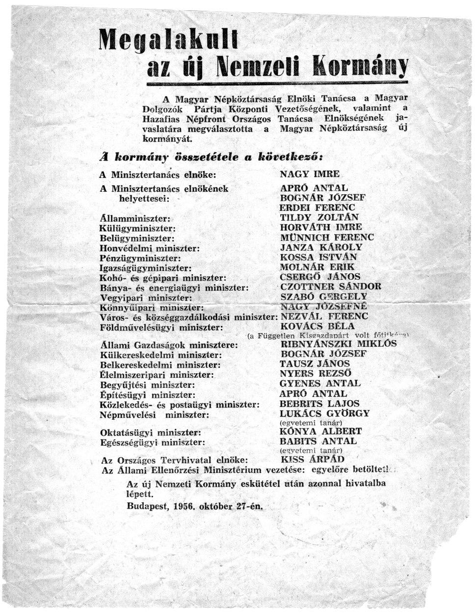 Flyer. Imre Nagy, Head of goverment -1956.10.27