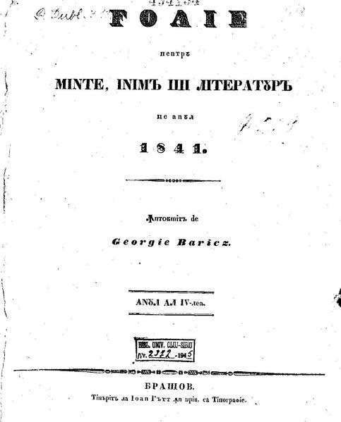 File:Foaie pentru minte, inima si literatura, Nr. 1, Anul 1841.pdf