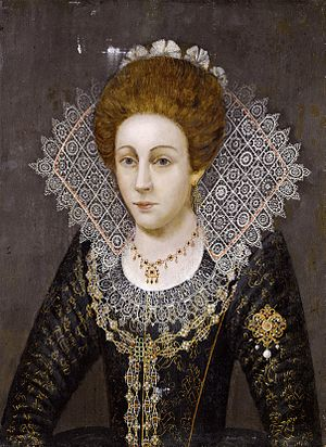 Supportasse - A red supportasse is visible beneath this stiffened lace collar.  Follower of Robert Peake the Elder, Portrait of a Lady.