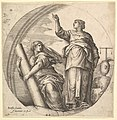 Fortitude and Justice, an allegorical composition in round format, with Fortitude grasping a stone column and Justice pointing upward, a set of scale rests on a rock at right MET DP827747.jpg