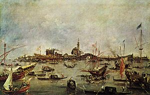 San Nicolò al Lido - The Bucintoro in front of San Nicolò del Lido, during the Marriage of the Sea (Guardi)
