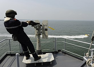 French frigate Ventôse - A sailor aboard Ventôse tracks a surface contact during an exercise supporting FRUKUS 2011