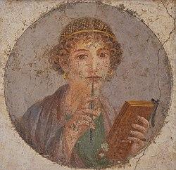 """Italian: Donna con tavolette cerate e stilo (cosiddetta """"Saffo"""")Woman with wax tablets and stylus (so-called """"Sappho"""")"""